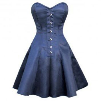 GC-1035 - Blue Satin Style Flared Corset Dress