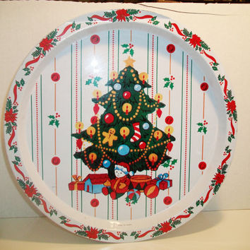 Vintage Round White Christmas Tin Tray Retro Kitchen Holiday Home Home Decor