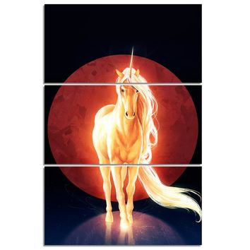 Last Unicorn by JoJoesArt -  Psychedelic Unicorn 3 piece canvas wall art print picture