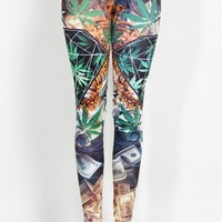 Hemp And Diamond Graphic Print Leggings | MakeMeChic.com