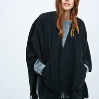 Black Brushed Pocket Ruana Scarf - Urban Outfitters