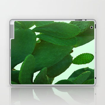Cactus On Cyan Background Laptop & iPad Skin by ARTbyJWP