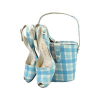 1950s Hand Painted Bucket Purse + Slingbacks