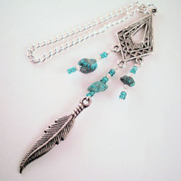 Rear View Mirror Car Charm - Silver Tone Feather with Turquoise & Clear Seed Beads & Turquoise Nuggets