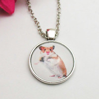 Hamster Necklace - Hamster Pendant - Cabochon Hamster - Dainty Necklace - Hamster Jewelry - Gift Under 20 - Silver Hamster Charm - Pet Charm