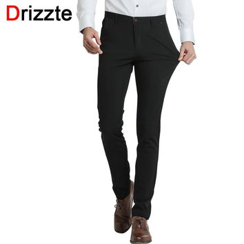 Drizzte Brand Mens Dress Pants Stretch Slim Casual Formal Business Trousers