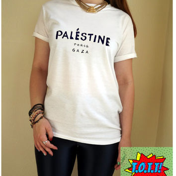 Palestine Paris Gaza T Shirt Unisex White Black Grey S M L XL Tumblr Instagram Blogger