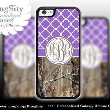 Monogram Iphone 5C case iPhone 5s  iPhone 4 case Ipod 4 5 Touch case Real Tree Block Camo Purple Quatrefoil Personalized