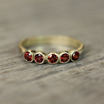 Crimson Red Garnet and Recycled 14k Yellow Gold Anniversary Band, 5 Stone Ring, Five Stone Band Ring