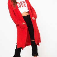Red Super Chunky Long Line Cardigan