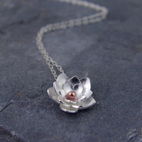 Silver Lotus Flower Drop Pendant Sterling silver and by Hapagirls