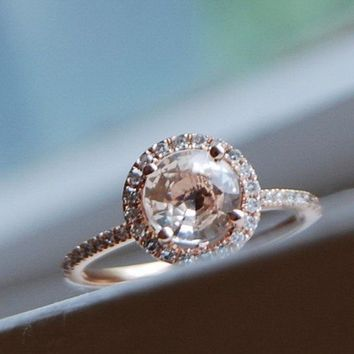 Champagne peach sapphire diamond ring 14k rose by EidelPrecious