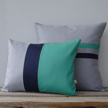 Turquoise Colorblock & Striped Pillow Set of 2 | Modern Home Decor by JillianReneDecor | Minimal | Color Block Pillow | Aqua Gray Navy