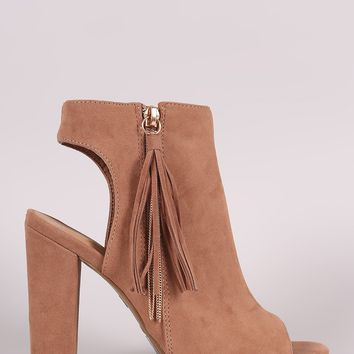 Bamboo Suede Cutout Tassel Booties