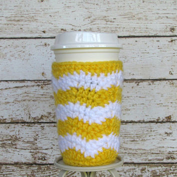 Chevron Coffe Cup Cozy, Crochet Cup Sleeve, Reusable Cozy