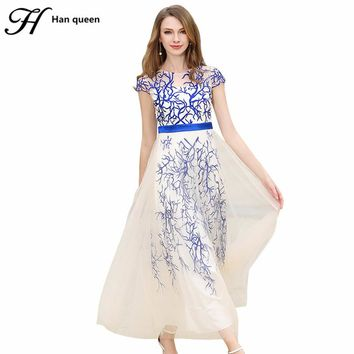 H HAN QUEEN NEW VINTAGE EMBROIDERY MAXI DRESS FOR WOMEN