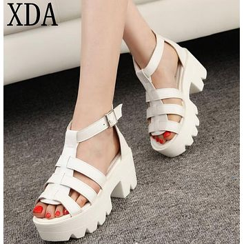 XDA New Summer Lady Strappy Platform Block Heel Chunky Pure Buckle Leather Peep Toe Ankle High Sandals Women Gladiator Shoes A24