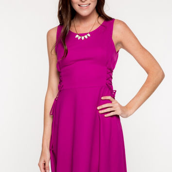 Dark Magenta Side Lace-Up Dress