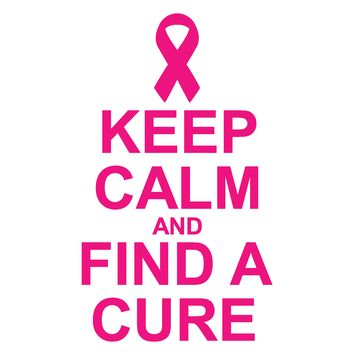 Breast Cancer, Keep Calm And Find A Cure, Vinyl Graphic Decal Sticker Vehicle Car Truck Window Wall Laptop - High Quality Outdoor Rated Vinyl + FREE DECAL