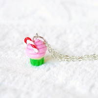 Candy Cane Christmas Cupcake Necklace with by BoutiqueVintage72