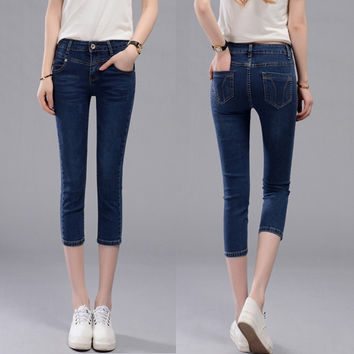american apparel cheap mom jeans high waist jeans blue woman denim skinny plus size shorts bottoms femme push up mom trousers