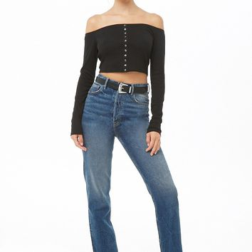Mock Button Off-the-Shoulder Crop Top