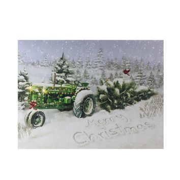 "Fiber Optic and LED Lighted Merry Christmas Tractor Canvas Wall Art 12"" x 15.75"""