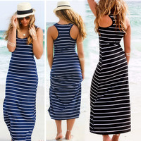 Casual Sleeveless Striped Beach Party Long Maxi Tank Dress