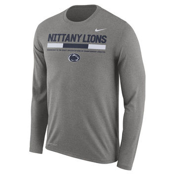 Nike Penn State Nittany Lions Charcoal Sideline Staff Legend Long Sleeve Performance T-Shirt