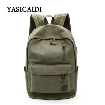 2018 Large capacity USB Man travel bag mountaineering backpack men bags canvas bucket shoulder bag Male Canvas Backpacks