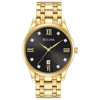 Men's Bulova Diamond Accent Gold-Tone Watch with Black Dial (Model: 97D108)|Zales