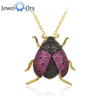 Lovely Animal  Ladybug Insect pendants necklace Pin Collar Badge Jewelry for Women Gifts Fashion Chain Choker(jewelora NE102766)