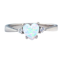 Sterling Silver 0.81ct Elegant Heart-cut  Australian Fiery White Opal Promise Friendship Engagement Ring, Olena (sz 4-10) SDI85001-Shop-M01