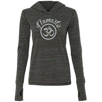 Yoga Clothing for You Womenss Namaste OM Hoodie Tee Shirt
