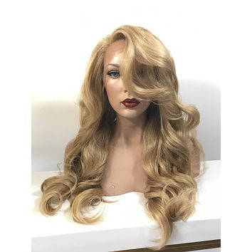 Honey Blond Human Hair Blend Multi Parting curls lace front wig 26' - EVE