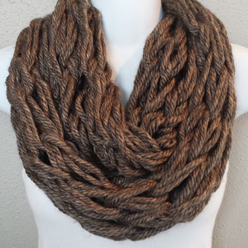 Granite Brown Arm Knitted Infinity Scarf Womens Arm Knit Circle Scarf Arm Knitting Girls Scarf Knitted Brown Scarves Gift for Her