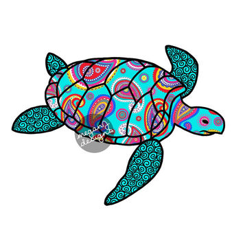 Blue Paisley Sea Turtle Decal - Colorful Pattern Beach Bumper Sticker Car Decal Laptop Decal Vinyl Teal Turquoise Pink Green