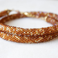 Beaded crochet necklace, rope, brown, gold, amber color, seed bead jewelry