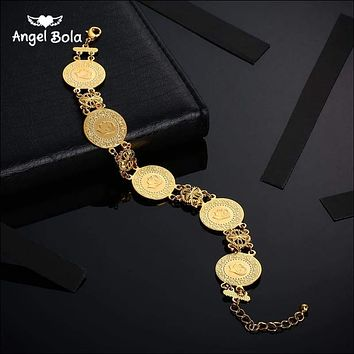 Gold Color Coin Bracelet for Women Men Middle Eastern Jewelry 8fff360c5