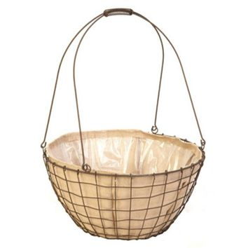"""Panacea™ 84272 Urn Basket with Rustic Woven Wire, Steel, 18"""" Wide"""