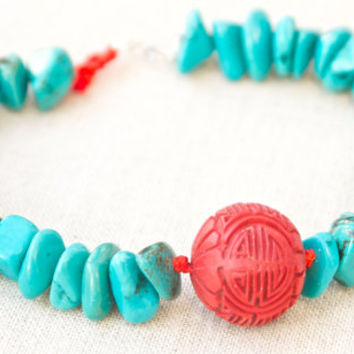 Bracelet turquoise and red cinnabar 14k gold Beaded Red green Layering bracelet Chinese style Modern Resort jewellery Boho bracelet Asian