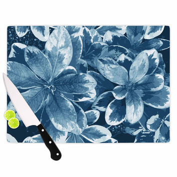 "Julia Grifol ""Leaves"" Blue Floral Cutting Board"