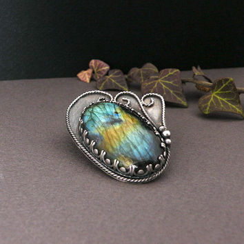 Silver pendant and brooch in one with by MadeBySunflower on Etsy