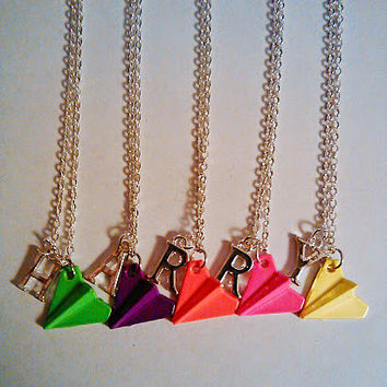 Personalized Neon Paper Airplane Initial Necklace - Like the one Harry Styles from One Direction Wears!