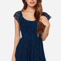 Falling into Lace Dark Blue Lace Dress