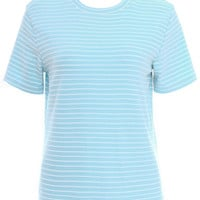 ROMWE Striped Blue T-shirt