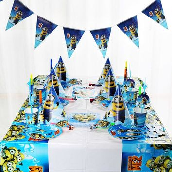 Cartoon minions Party Set Tableware Plate Napkins Banner Happy Birthday Candy popcorn Box gift bags Baby Shower Party Decoration