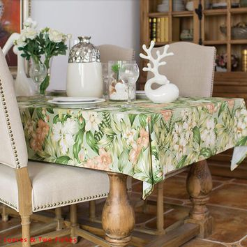 Free shipping Table Cloth Floral Tablecloth High Quality Table Runner Bamboo leaves large cotton Tablecloths Cotton Table Flags