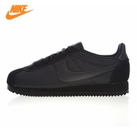 Nike CLASSIC CORTEZ NYLON Men's and Women's Running Shoes,Outdoor Sneakers Shoes, Black, Wear-resistant  Lightweight 807472 007