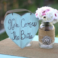 Here Comes The Bride Sign Shabby Chic Wedding Decor (item P10072)